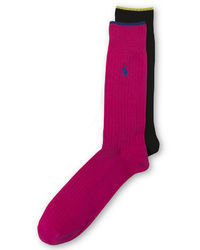 Ralph Lauren Extended Size Ribbed Solid Socks 2 Pack