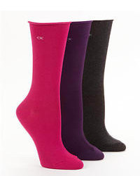 Calvin Klein Hosiery Roll Top Socks 3 Pack