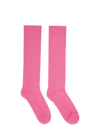 Rick Owens Pink Logo Crew Socks