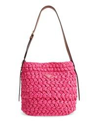 Prada Medium Woven Raffia Shoulder Bag