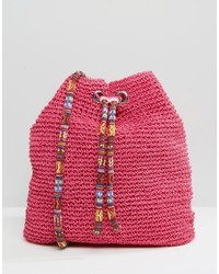 Hot Pink Straw Crossbody Bag