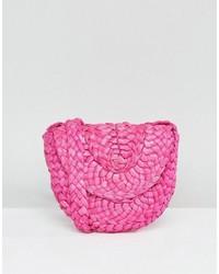 Glamorous Paper Straw Cross Body Bag In Pink