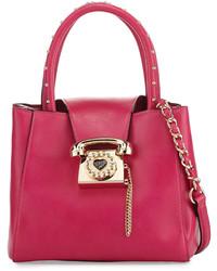 Betsey Johnson You Rang Studded Bucket Bag Fuchsia