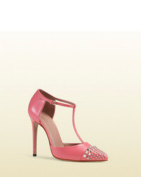 Studded leather t strap pump medium 108394