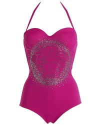 Versace Crystal Logo Studded One Piece Swimsuit