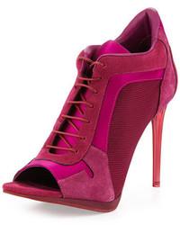 Burberry Open Toe High Heel Sport Bootie Plum Pink