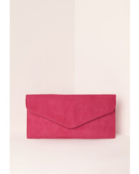 Missguided faux suede clutch bag pink medium 961339
