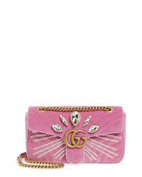 Gucci Gg Marmont 20 Crystal Embellished Velvet Crossbody Bag