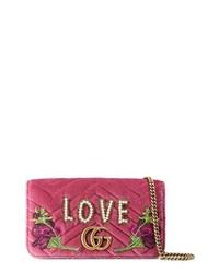 Gucci Gg Marmont 20 Embellished Velvet Shoulder Bag