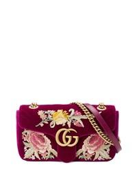 Gucci Small Gg Marmont 20 Matelasse Velvet Shoulder Bag