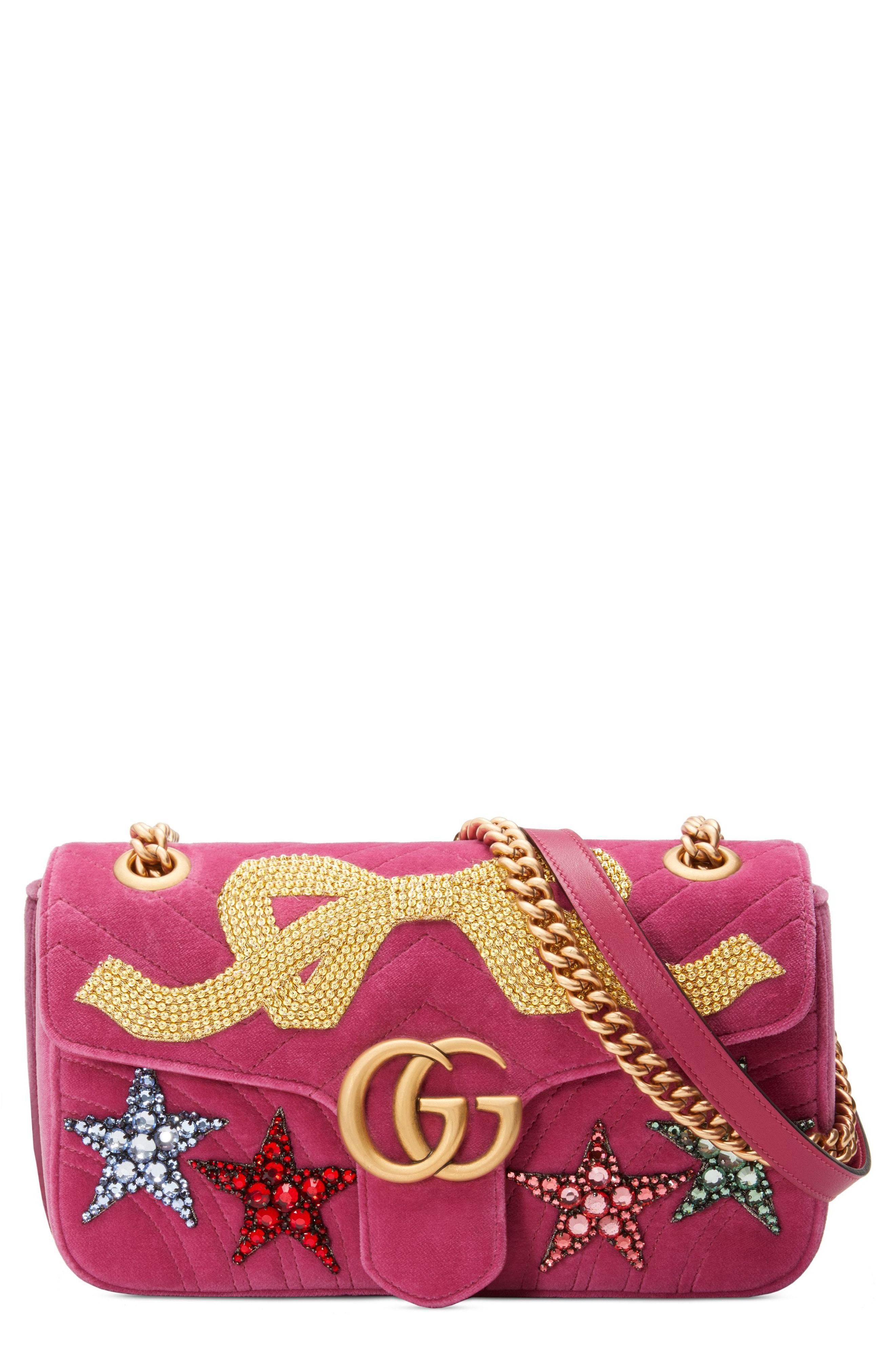 50040a7f370 Small Gg Marmont 20 Matelasse Velvet Shoulder Bag. Hot Pink Suede Crossbody Bag  by Gucci