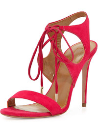 Hot Pink Suede Heeled Sandals