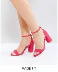 Faith Wide Fit Pink Heeled Sandals
