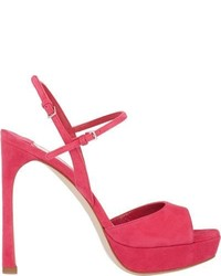 Miu Miu Suede Double Ankle Strap Sandals Pink