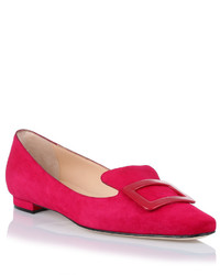 Hot Pink Suede Loafers
