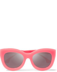 Alice + Olivia Alice Olivia Madison Square Frame Acetate Mirrored Sunglasses Pink