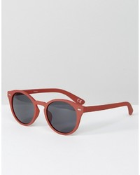 Asos Round Sunglasses In Matte Pink