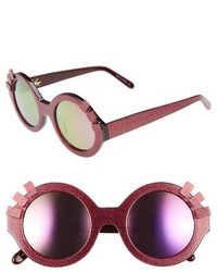 Vow london andie eyelash 46mm round sunglasses hot pink glitter medium 3665226