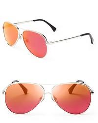 Wildfox Couture Wildfox Airfox Ii Deluxe Mirrored Aviator Sunglasses 57mm