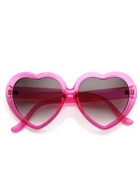 ZeroUV Oversized Translucent Color Heart Shape Sunglasses