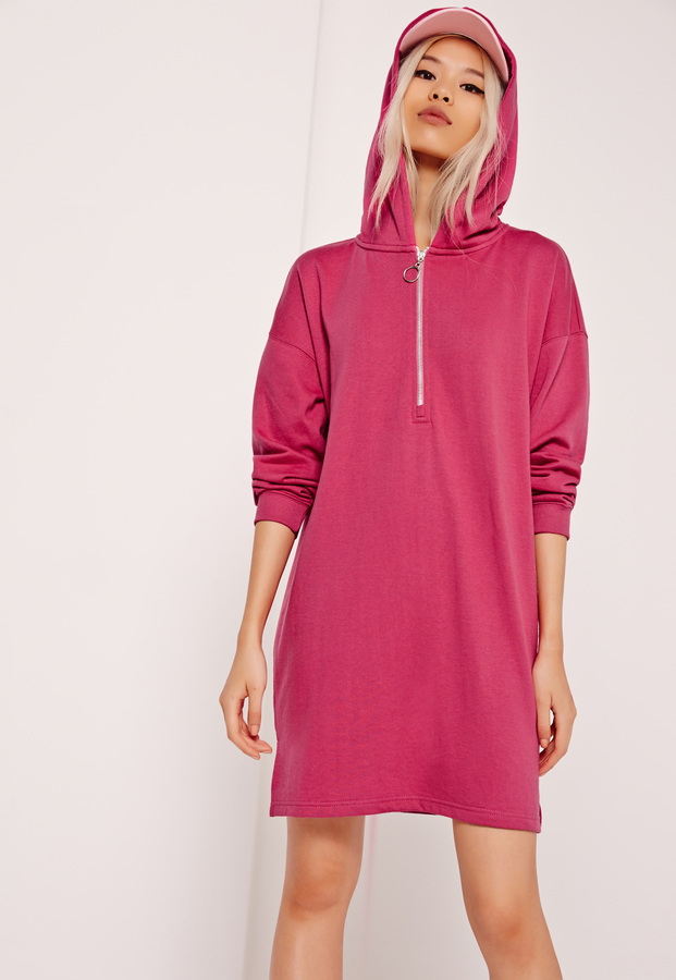 Missguided Zip Front Hooded Sweater Dress Pink | Where to buy ...