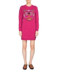 Kenzo Tiger Classic Sweatshirt Dress Fuchsia