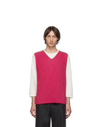 Homme Plissé Issey Miyake Pink Pleated V Neck Tank Top
