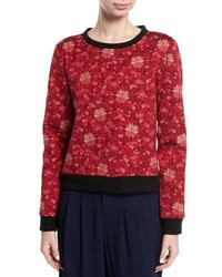 Alice + Olivia Mary Lou Floral Print Pullover Sweatshirt