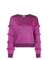 RED Valentino Round Glitter Ruffle Sleeve Sweatshirt