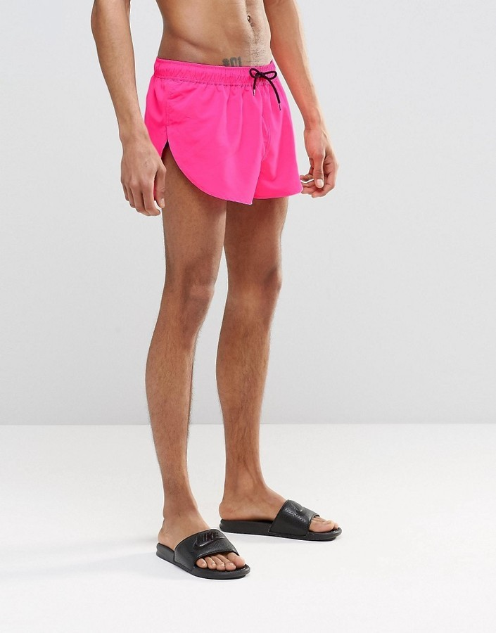 f6d66df6ec ... Asos Brand Super Short Length Swim Shorts In Neon Pink With Side Split  ...