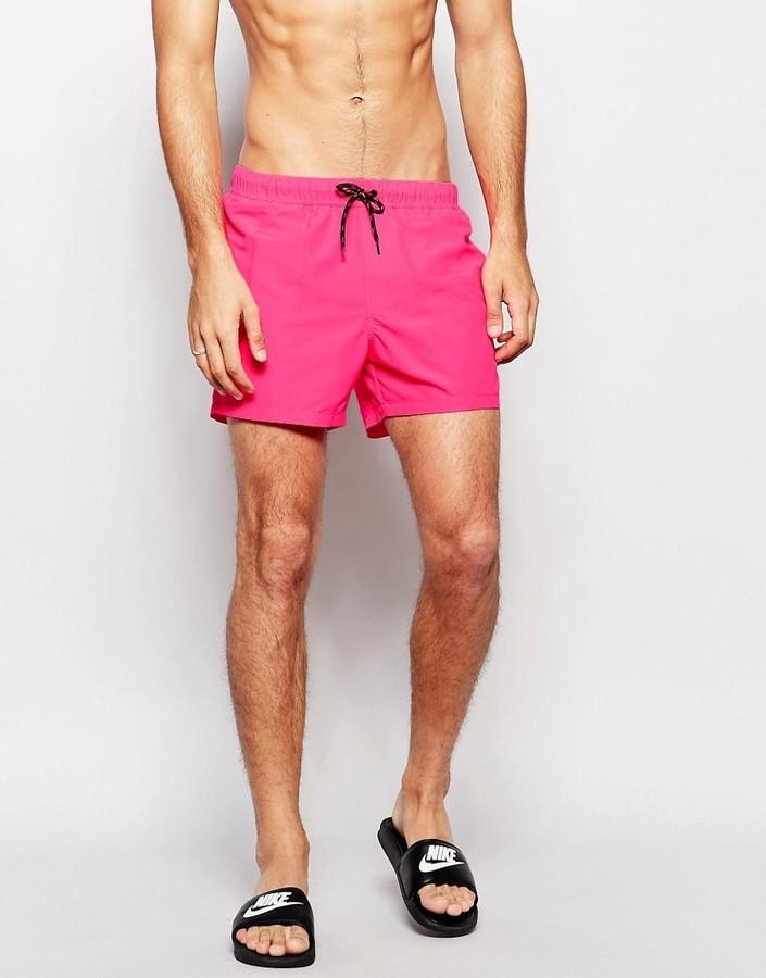 6e96e7ff9f812 ... Asos Brand Swim Shorts In Neon Pink Short Length ...