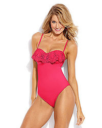 Laundry by Shelli Segal Andalusian Sunset Ruffle Bandeau One Piece Swimsuit