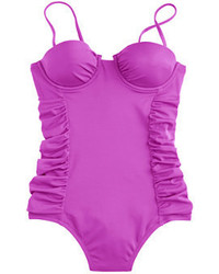 J.Crew D Cup Ruched Underwire One Piece Swimsuit