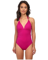 Ralph Lauren Lauren By Laguna Solids Tie Back Halter Mio One Piece