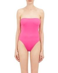 Norma Kamali One Piece Bishop Bandeau Swimsuit Pink