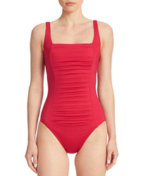 Calvin Klein Pleated Front One Piece Swimsuit