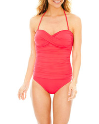 Liz Claiborne Twist Bandeau One Piece Swimsuit