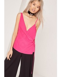 Missguided Satin Wrap Tie Cami Top Pink