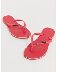 Havaianas Brasil Logo Flip Flops In Bright Pink