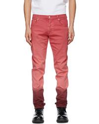 Alexander McQueen Pink Burgundy Denim Dip Dye Washed Jeans