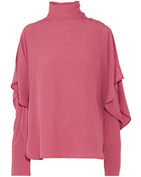 Marni Cutout Washed Crepe Turtleneck Top Pink