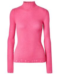 Les Rêveries Distressed Cashmere Turtleneck Sweater