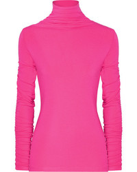 Georgia ruffled stretch jersey turtleneck top bright pink medium 5084091