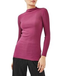 Topshop Mixed Ribbed Funnel Neck Sweater