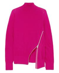 Sacai Zip Detailed Wool Turtleneck Sweater