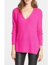Hot Pink V-neck Sweaters for Women | Women's Fashion