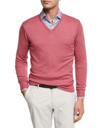 Crown soft merinosilk wool v neck sweater medium 5253258