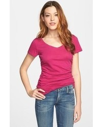 Caslon shirred v neck tee pink plumier medium medium 64709