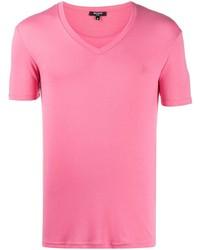 Balmain Embroidered Logo V Neck T Shirt