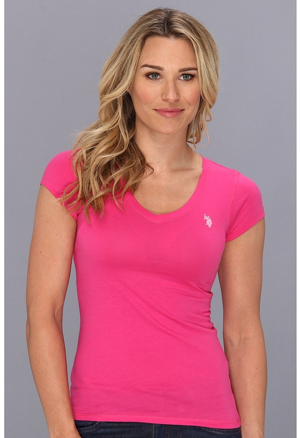 Pink Polo V Neck T Shirt